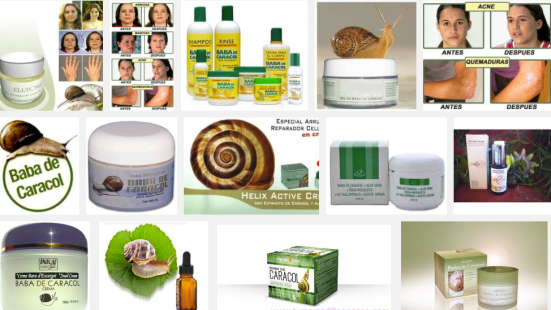 Colección de productos con baba de caracol