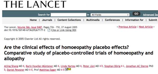Publicación Lancet Homeopatía