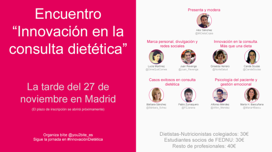 Cartel de ponentes para las Jornadas de #InnovaciónDietética