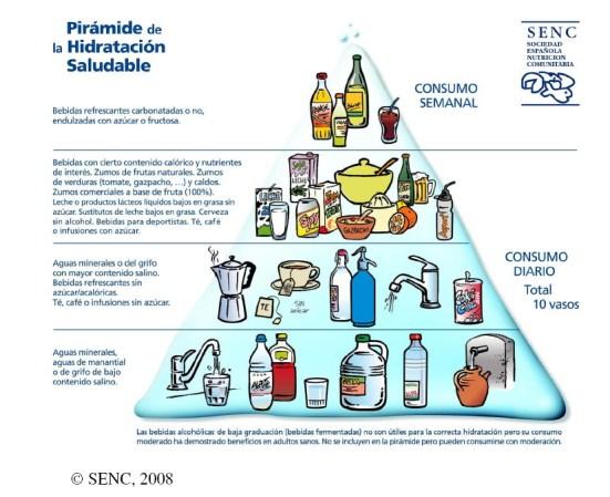 """Foto: SENC. La pirámide de la hidratación de la SENC (2008) reza en su base que """"Las bebidas alcohólicas de baja graduación [...] ha demostrado beneficios en adultos sanos"""""""